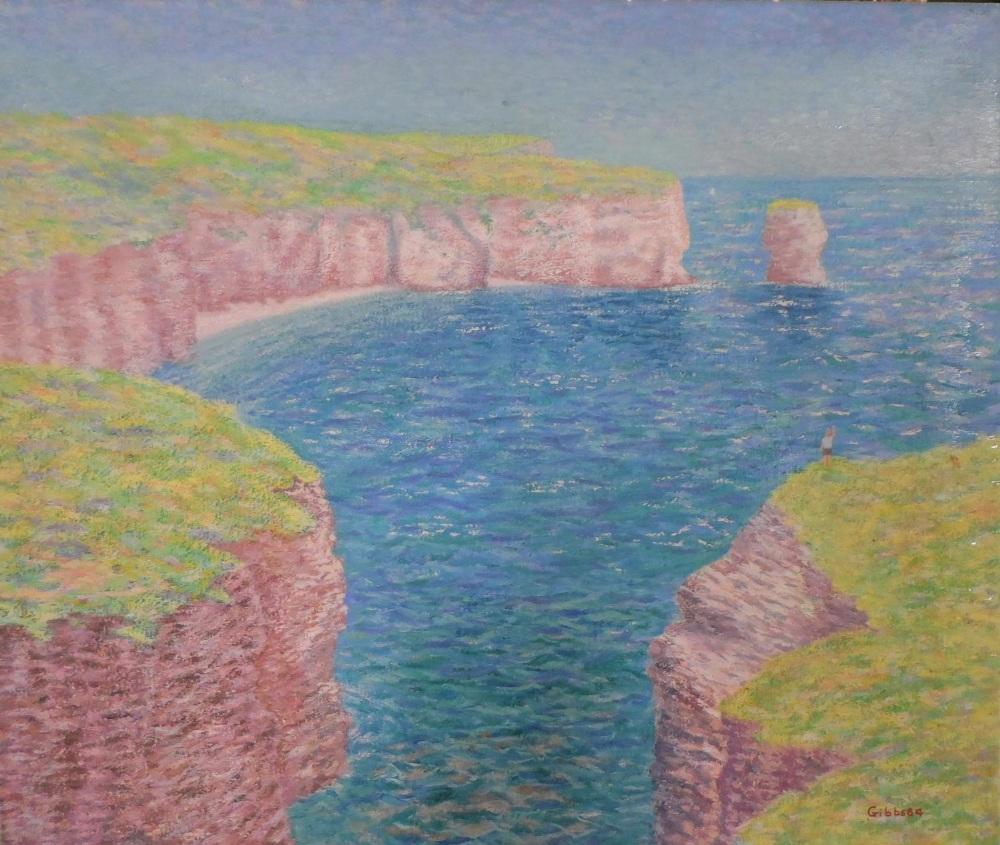 "Gerry B Gibbs 1984 post-impressionist oil on canvas ""Coastal landscape"", signed & dated, unframed, - Image 2 of 4"