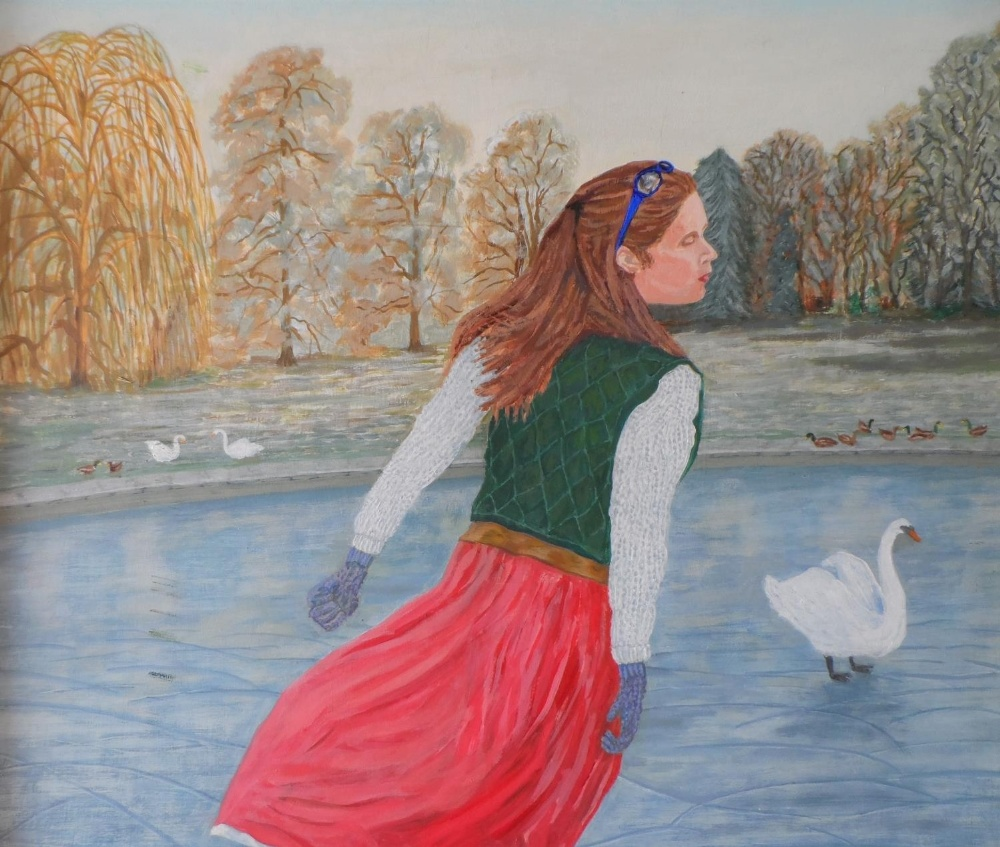 """Gerry Gibbs 2011 oil on board, """"The lone skater"""", wood framed, signed and dated, The oil measures 58 - Image 3 of 5"""