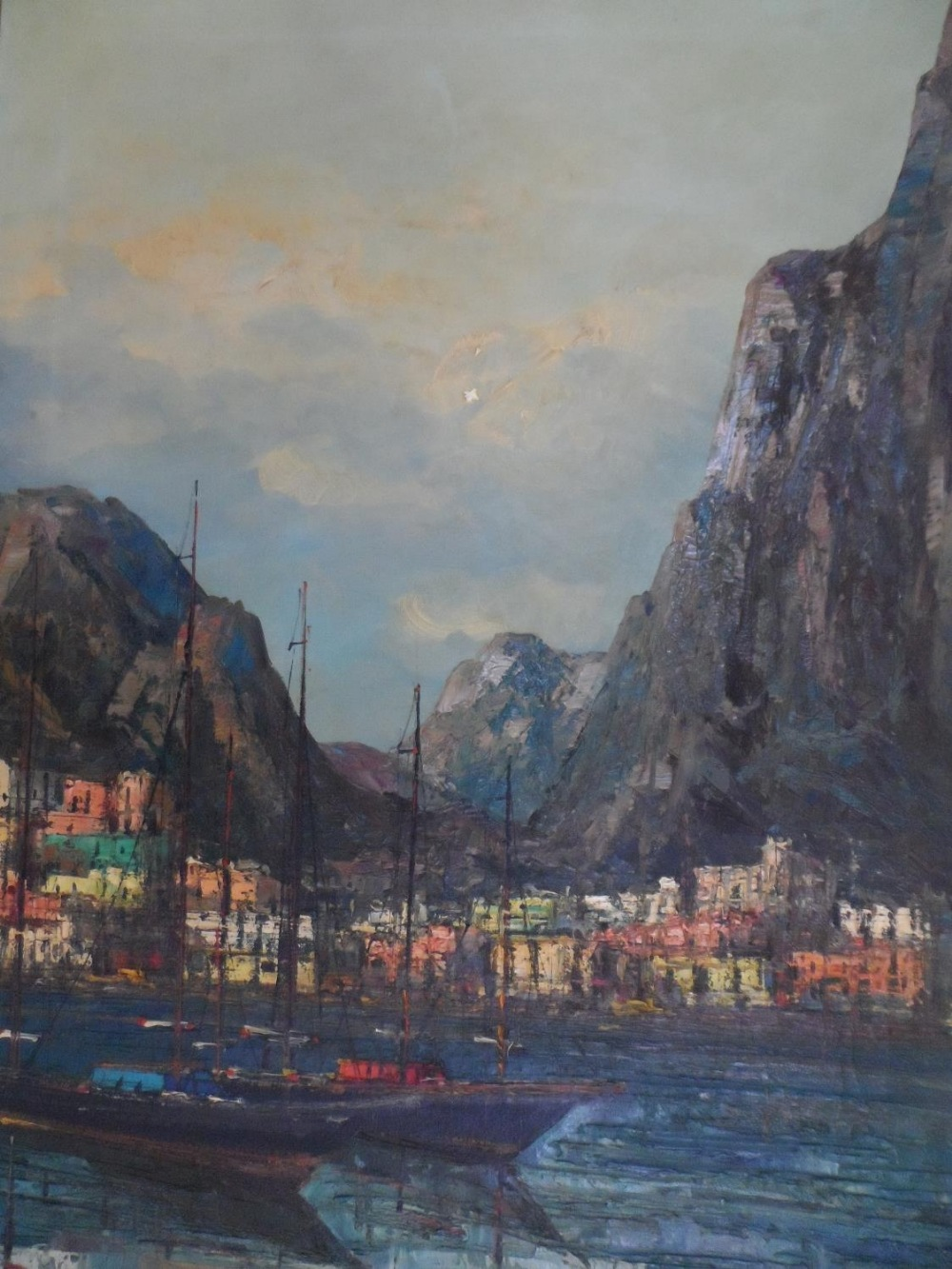 """Large impressionist, 1960s/70s oil on canvas, """"Boats of Mediterranean coast"""" signed CARTIER, framed, - Image 3 of 5"""