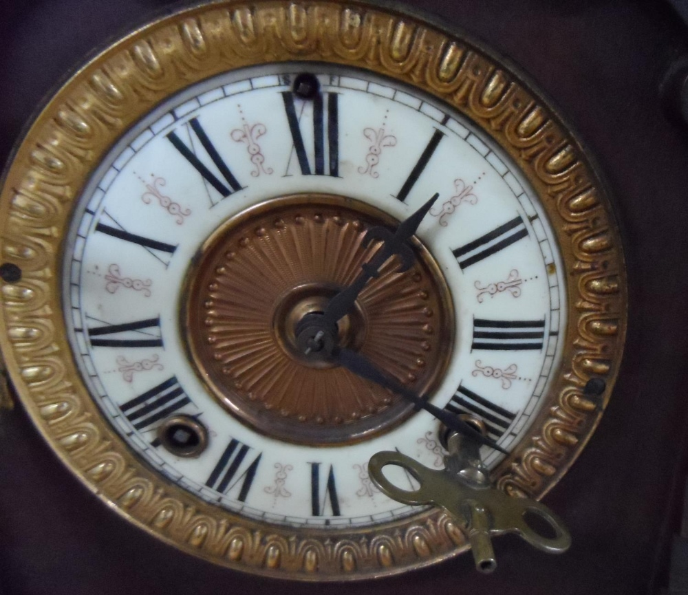 Ansonia Clock Co Eight Day Syria Mantel Clock with key - Image 2 of 7