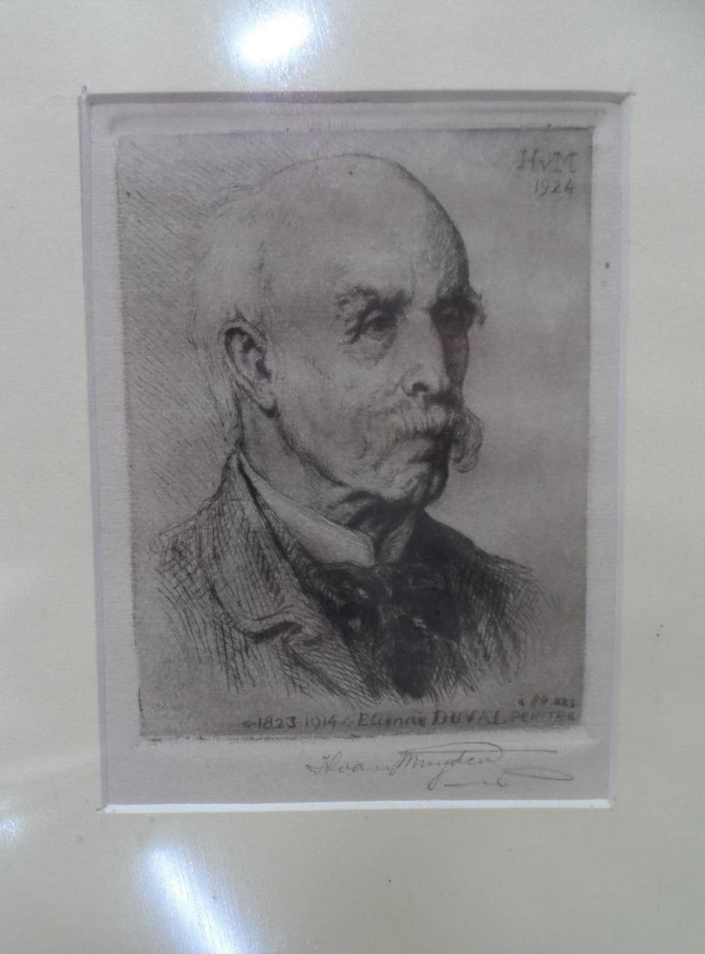 "Henri VAN MUYDEN (1860-1936) 1924 pencil signed etching ""Portrait of the French artist, Etienne"