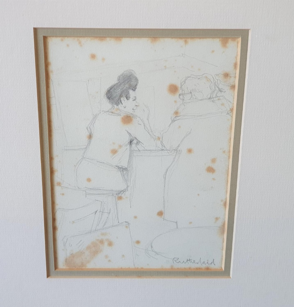 """Harry RUTHERFORD (1903-1985) pencil """"Two figures at the bar"""", signed, framed 17 x 12 cm Foxing - Image 2 of 3"""
