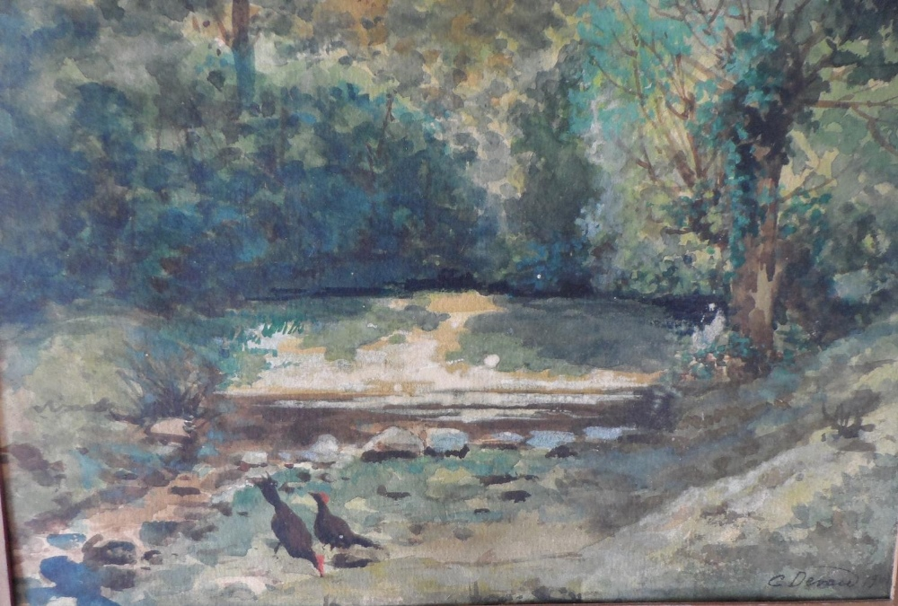 """G Devan 1907 watercolour """"Chickens by woodland pool"""", signed and dated, framed, The w/c measures - Image 3 of 4"""