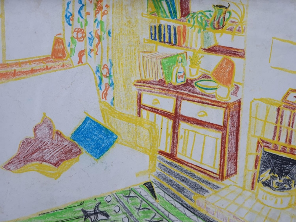 Jack Shaw, crayon, colourful lounge scene set in a pleasing vintage frame (1) 17 x 22cm - Image 2 of 2
