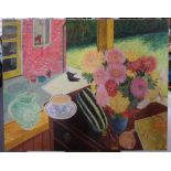 """Gerry B Gibbs 1969 post-impressionist oil on canvas, """"Out-door still-life"""", signed & dated,"""