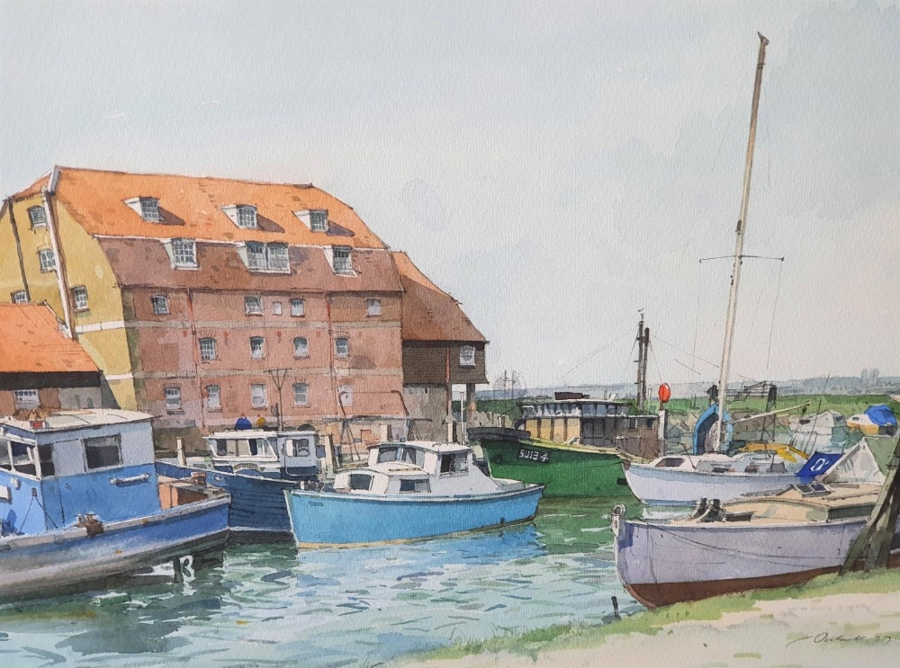 Indistinctly signed 1977 watercolour depicting small boats in inland harbour, signed and dated,