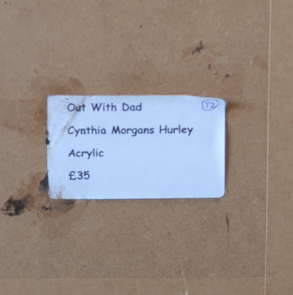 """Cynthia Morgans-Hurley (Wales) colourful modern acrylic """"Out with dad"""", signed in monogram, framed - Image 5 of 5"""