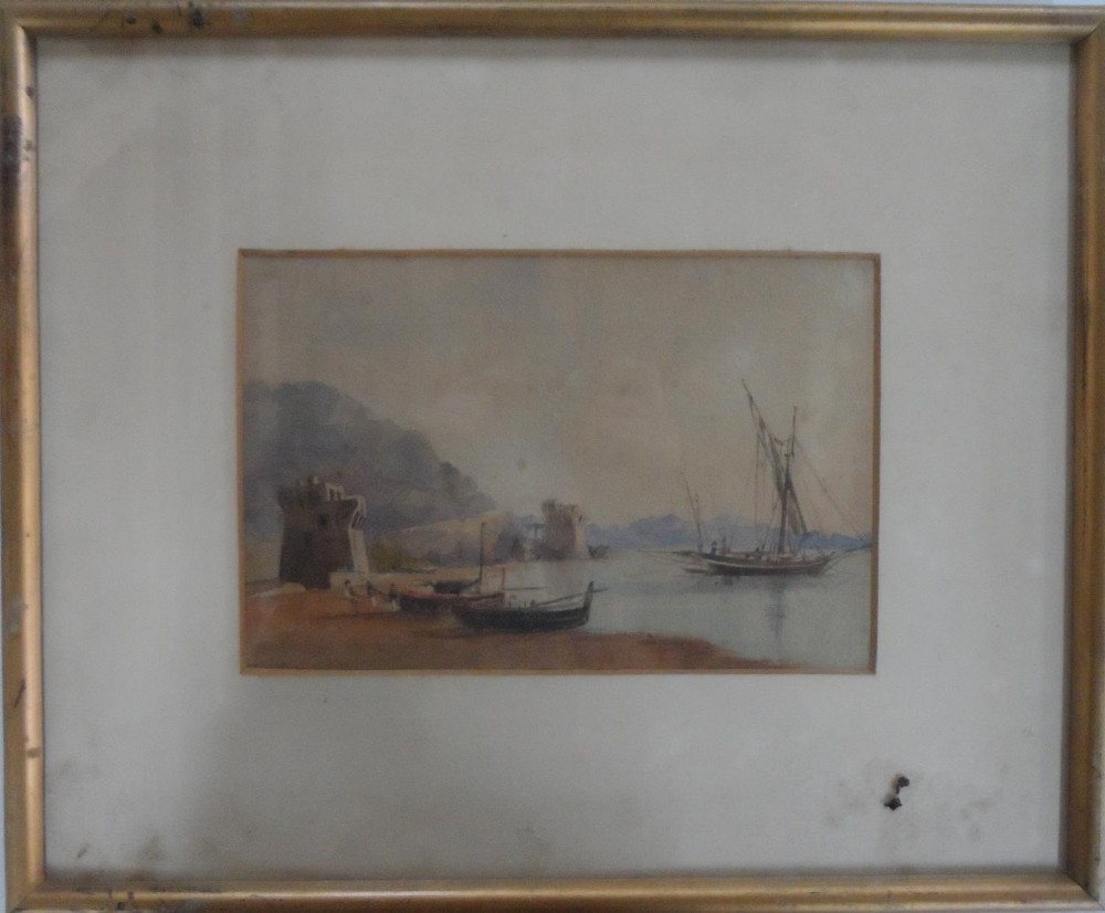 """Unsigned, early/mid 19thC watercolour """"Beached fishing boats"""", framed and glazed, The w/c measures - Image 2 of 4"""