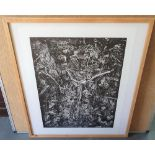 """Peter OAKLEY (1935-2007) 1986 lino-print """"Scatter"""" in fine thin wood frame, The print measures 55"""