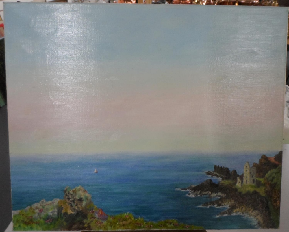 """Gerry B Gibbs 1970 post-impressionist oil on canvas, """"Tranquil coastal scene"""", signed and dated,"""