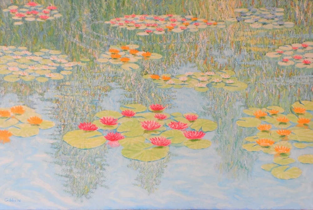 """Large Gerry Gibbs 1976 impressionist oil on canvas, """"Water-lilies"""", unframed, signed and dated, 51 x"""