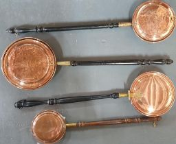 Four Victorian copper bedwarmers (4)