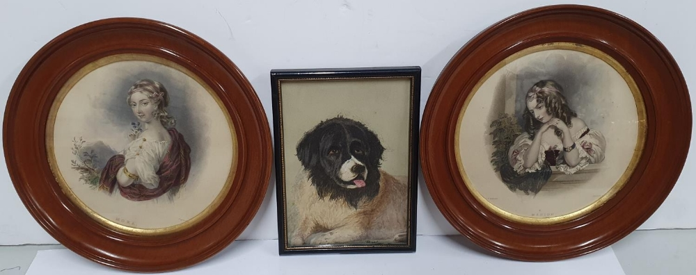 Bransby Williams, miniature watercolour portrait of a St Bernard dog together with a pair of