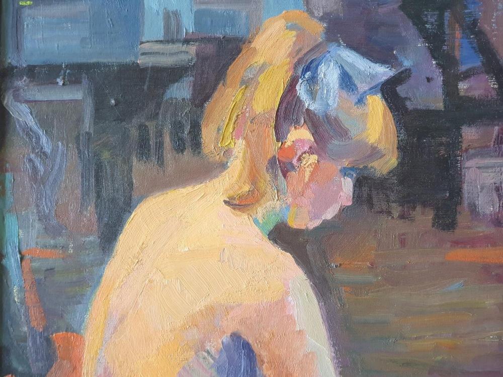 "P J Unwin oil on board, ""Back of nude girl"", signed framed, The portrait measures 44 x 33 cm"