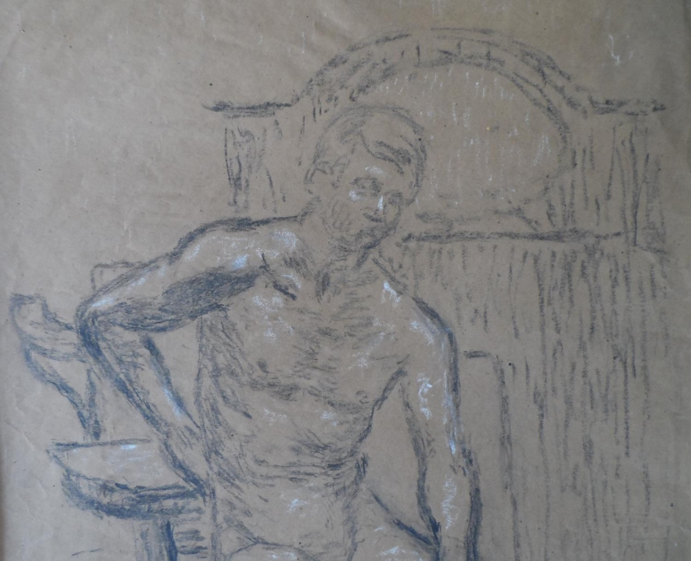 Joseph SMEDLEY (1923-2016) chalks portrait of a young naked boy, studio stamped & molded frame, - Image 3 of 4