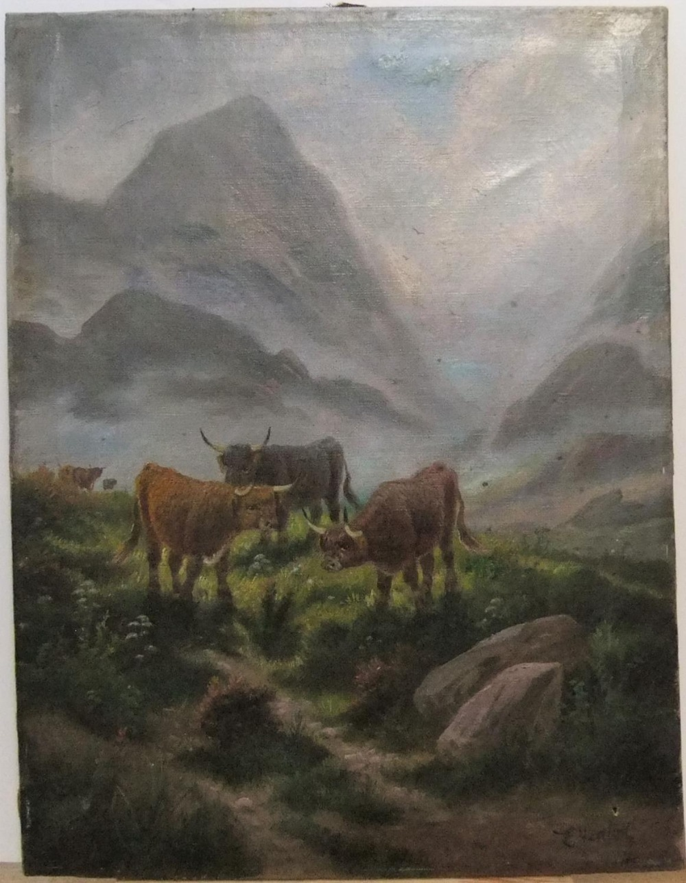 """Early 20thC oil on canvas """"Cattle in Highland landscape by E HEATON, unframed 51 x 38cm"""