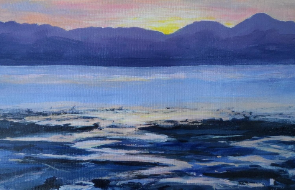 """Indistinctly signed, modernist oil on canvas, """"Red sunset over beach & sea"""", unframed, 41 x 56 cm - Image 3 of 6"""