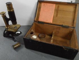 ANTIQUE BOXED MICROSCOPE BY BECK OF LONDON together with accessories