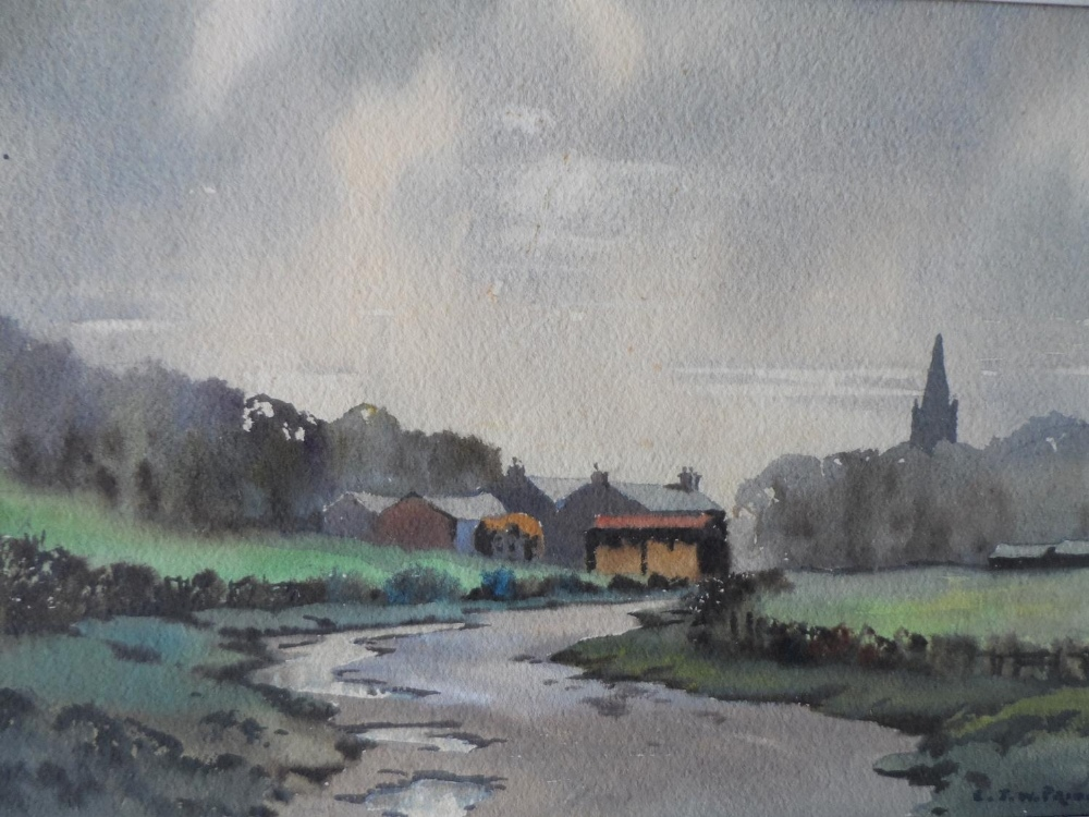 """R J W Prior, mid 20thC watercolour """"The road to the village"""", signed, framed, The w/c measures 17"""