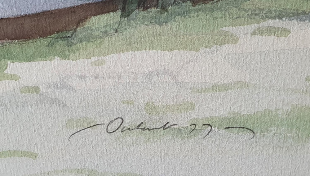 Indistinctly signed 1977 watercolour depicting small boats in inland harbour, signed and dated, - Image 3 of 3