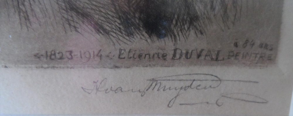 """Henri VAN MUYDEN (1860-1936) 1924 pencil signed etching """"Portrait of the French artist, Etienne - Image 4 of 4"""