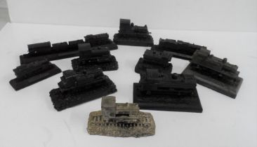 Collection of 10 smaller models of steam trains made from British coal (10)