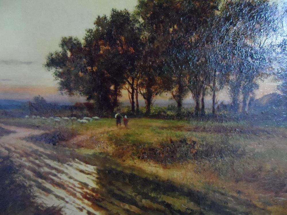 """Large Joel OWEN (act.1891-1931) oil """"Extensive country landscape"""", signed, wood framed, The oil - Image 2 of 6"""