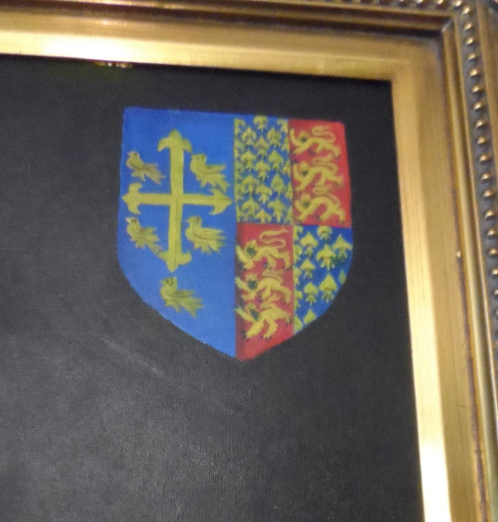 Superb quality, large 20th/21st oil on board, portrait of King Henry in full coronation regalia with - Image 7 of 8