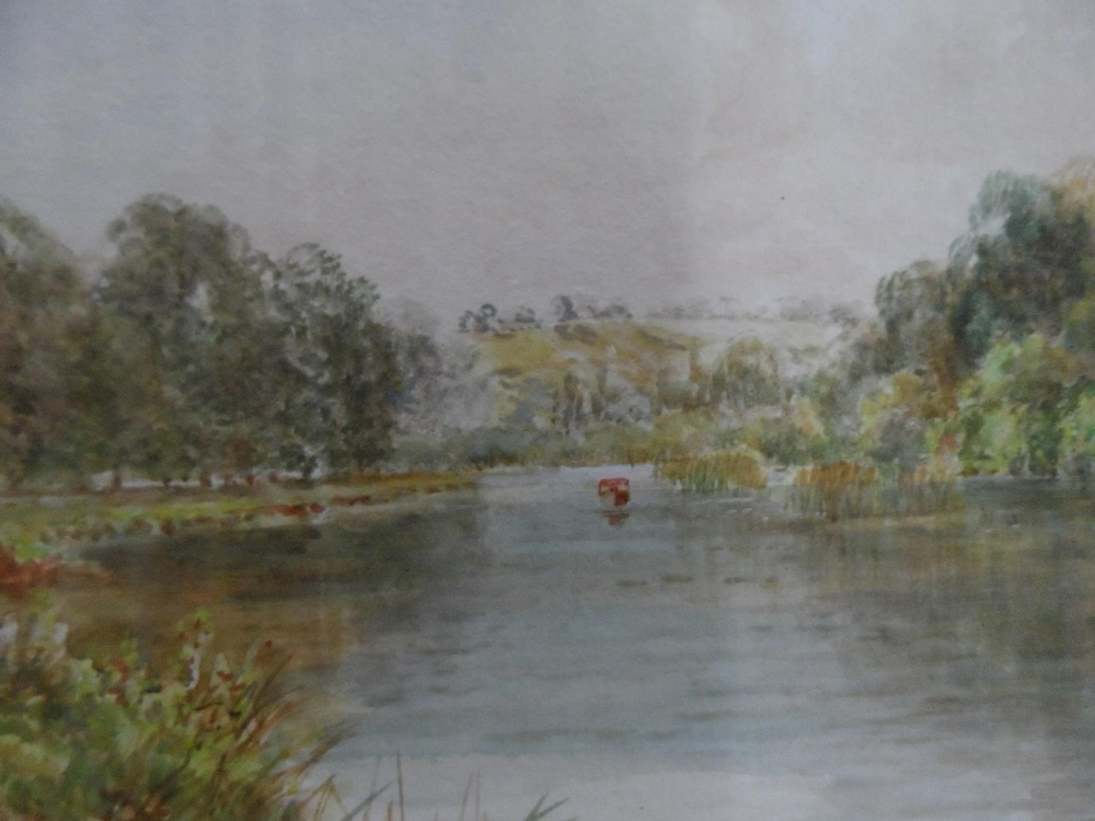 """Walter DUNCAN (1848-1932) watercolour """"Swans on tranquil river"""", signed, gilt framed The w/c - Image 3 of 6"""