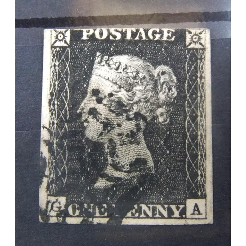 2 used penny blacks, Pl 6 & 16, 3 and 4 margin examples