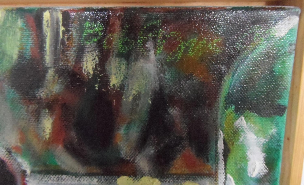 Bob Evans modernist oil on canvas, still-life with plant pot, signed, wood surround, 30 x 30 cm - Image 3 of 4