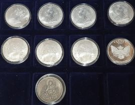 Collection of 9 replica coins to include copies of young head Victoria coins & Buddhist temple