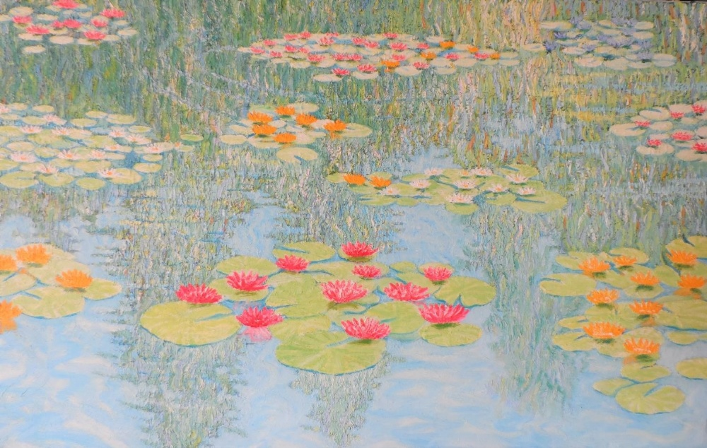 """Large Gerry Gibbs 1976 impressionist oil on canvas, """"Water-lilies"""", unframed, signed and dated, 51 x - Image 5 of 7"""