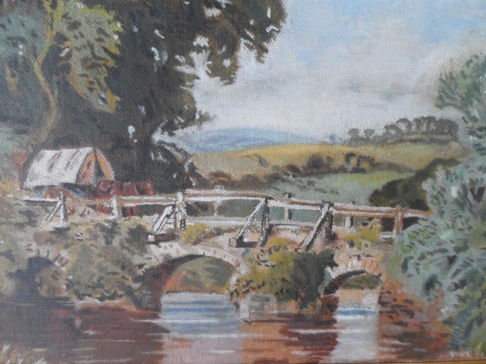 """Unsigned Edwardian oil on card, """"Country bridge"""", gilt mount but unframed, The oil measures 20 x - Image 3 of 3"""