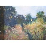 Unsigned impressionist British landscape oil on thin card, in wide wood frame, The oil measures 14 x