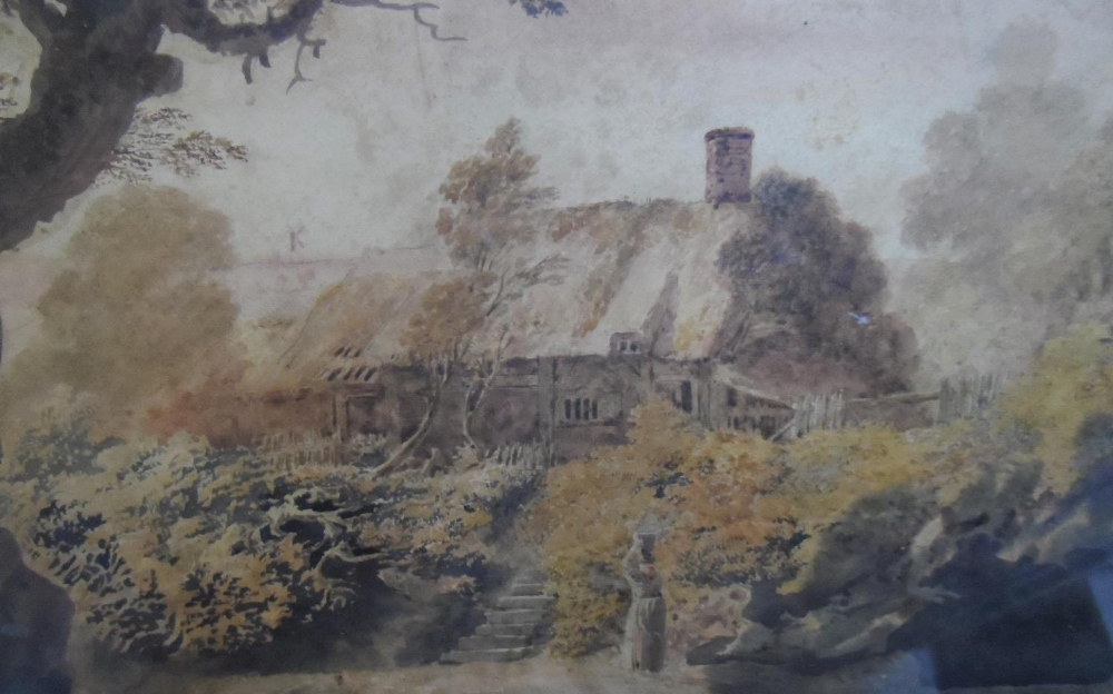 """Attributed to John GLOVER (1767-1849) watercolour """"Lady before country cottage"""" framed and glazed, - Image 2 of 3"""