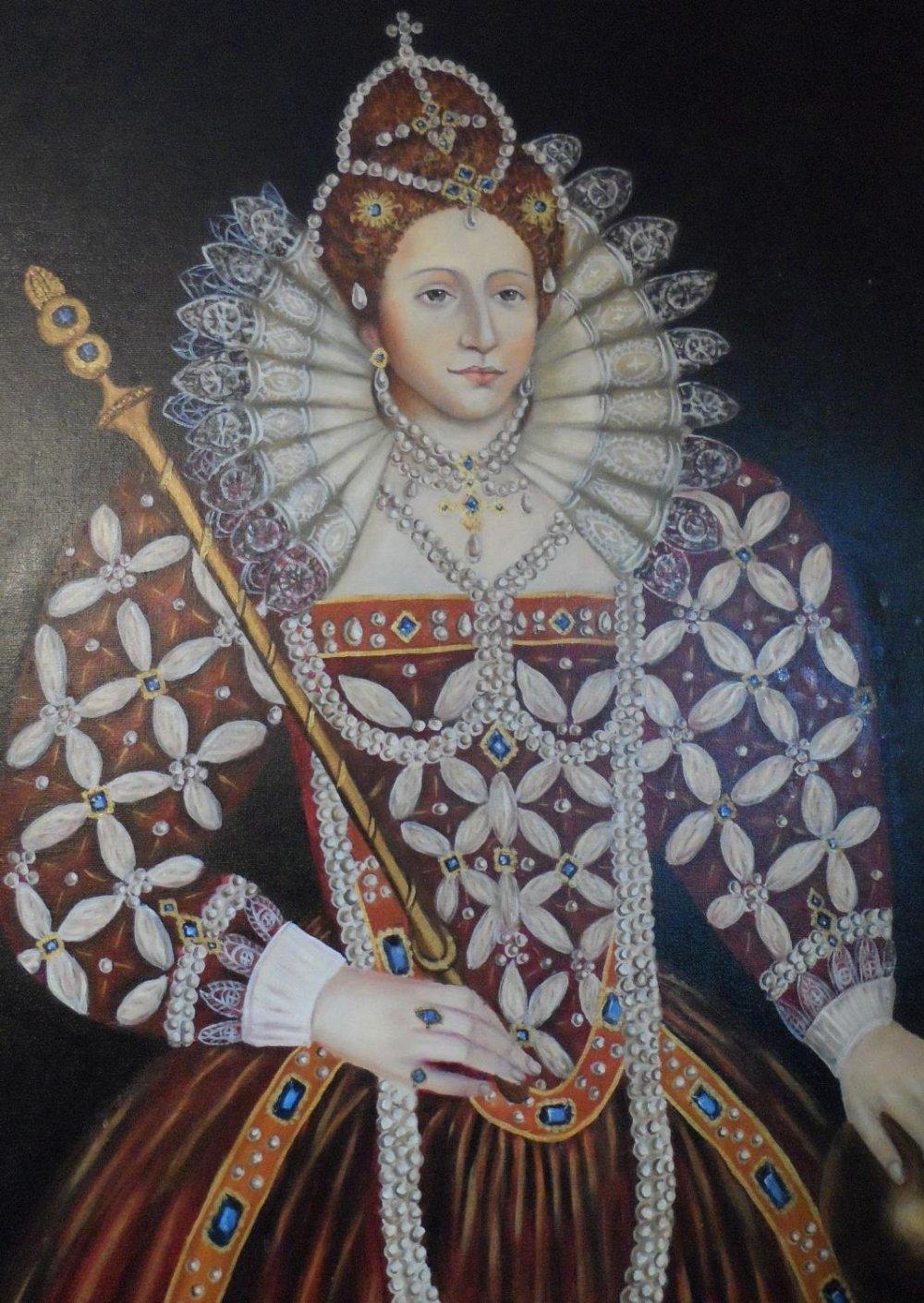 Large modern oil on board, portrait of Queen Elizabeth I in full pearl regalia, indistinctly - Image 3 of 6