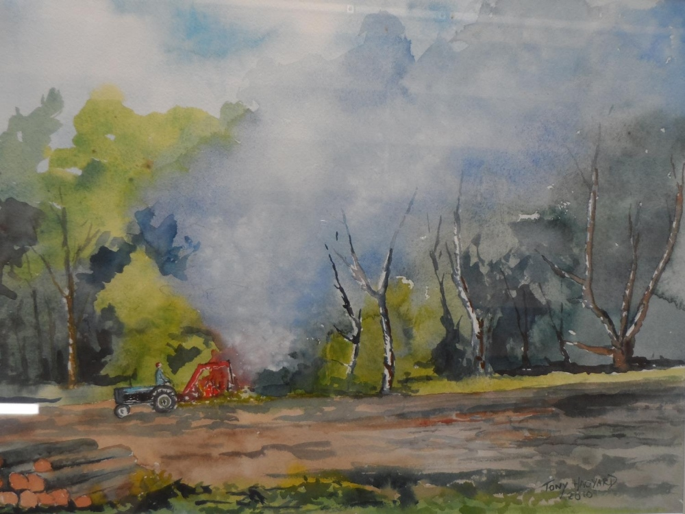 2 framed watercolours by differing artists together with 3 framed pen & ink drawings (5) Largest - Image 2 of 6