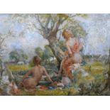 """Superb, mid 20thC oil on canvas, """"Two naked ladies in Arcadian landscape"""", unsigned, framed, The"""