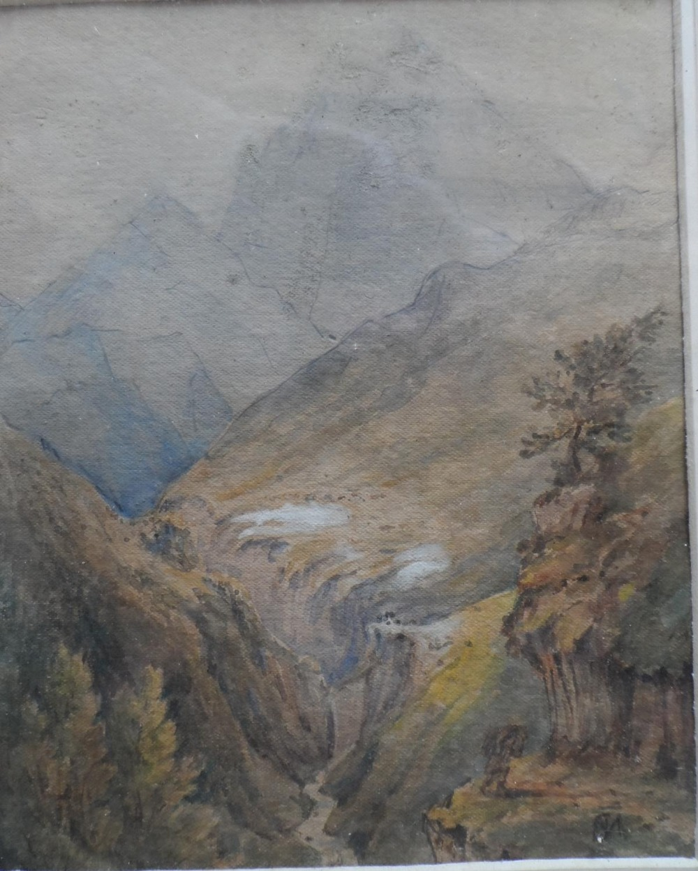 Six Alpine scene watercolours and drawing, all by differing artists, all framed (6) - Image 3 of 6