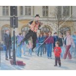 """Large Gerry Gibbs 2007 oil on board, """"The entertainer"""", unframed, signed and dated, 61 x 71 cm"""