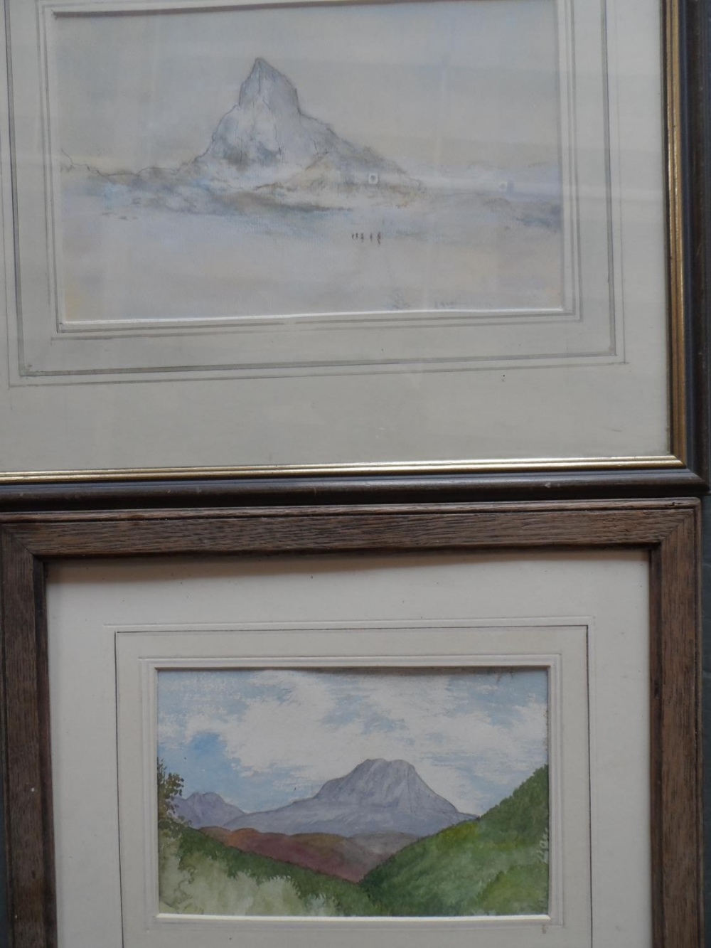 Six Alpine scene watercolours and drawing, all by differing artists, all framed (6) - Image 2 of 6