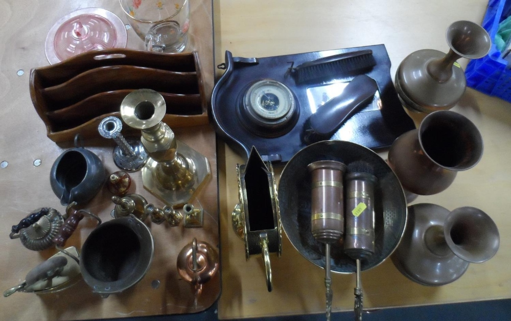 Large collection of brass & copperware together with a pleasing old wooden letter rack (Qty)