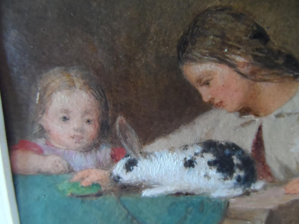 """Unsigned small Victorian oil on paper, """"Feeding the rabbit"""", mounted but unframed, The oil - Image 5 of 7"""