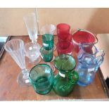 Collection of Victorian glassware to include Cranberry red, Bristol green and blue examples (Qty)