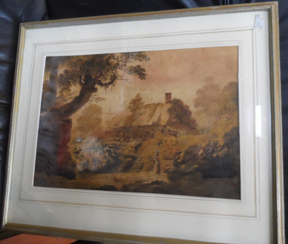 """Attributed to John GLOVER (1767-1849) watercolour """"Lady before country cottage"""" framed and glazed,"""