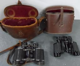 Pair of Denhill Hawk (1960) cased binoculars together with another unmarked vintage pair of cased