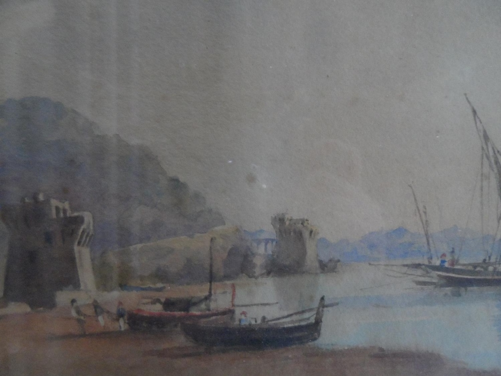 """Unsigned, early/mid 19thC watercolour """"Beached fishing boats"""", framed and glazed, The w/c measures"""