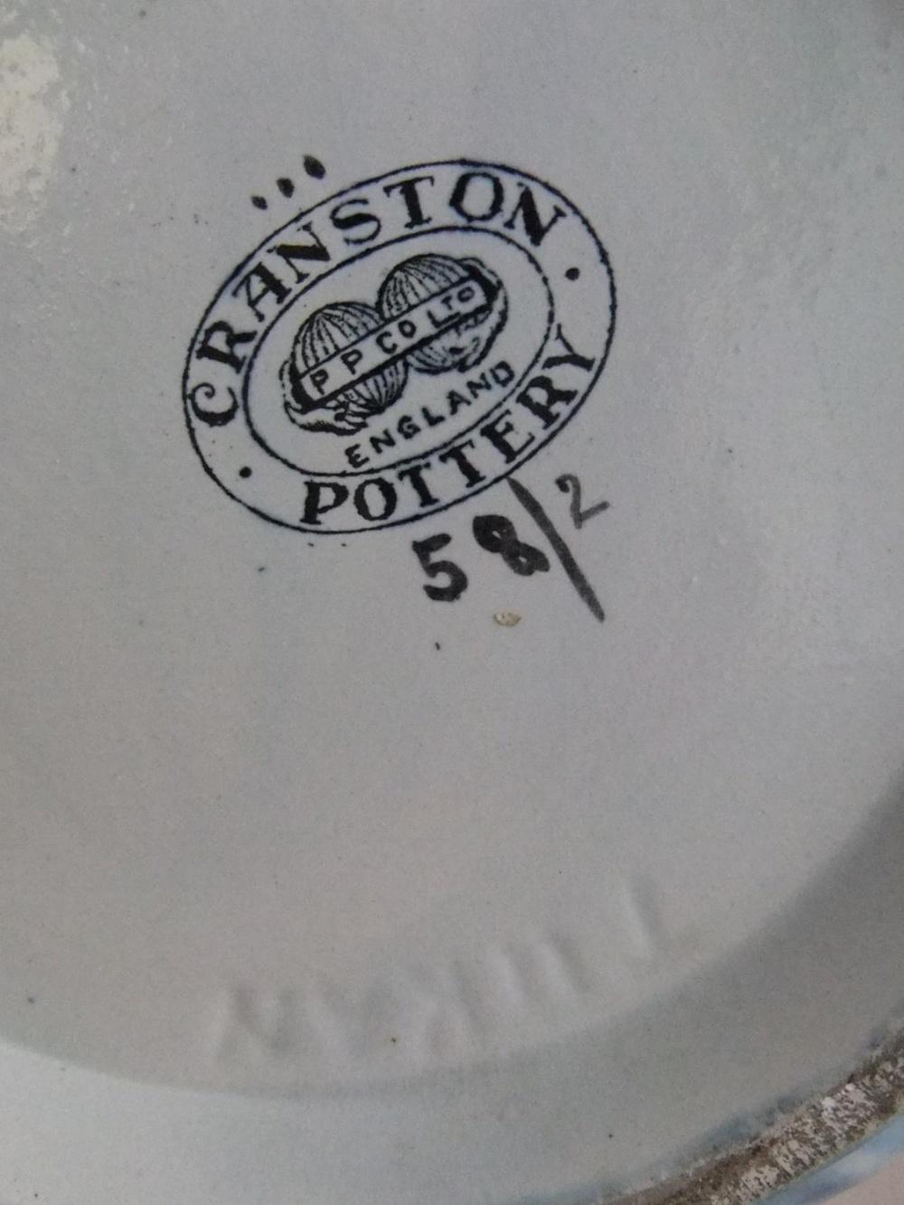 Stylised vintage Cranston pottery vase with grapes & leaves on mottled blue & grey ground 29 cm high - Image 4 of 4