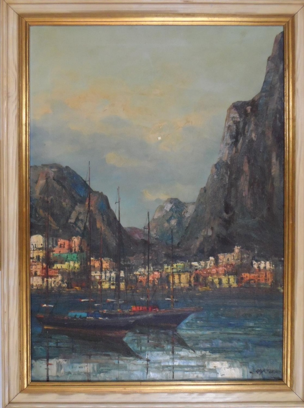 """Large impressionist, 1960s/70s oil on canvas, """"Boats of Mediterranean coast"""" signed CARTIER, framed, - Image 2 of 5"""